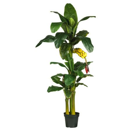 Nearly Natural 6 ft. Triple Stalk Banana Silk Tree (Artificial Banana Tree)