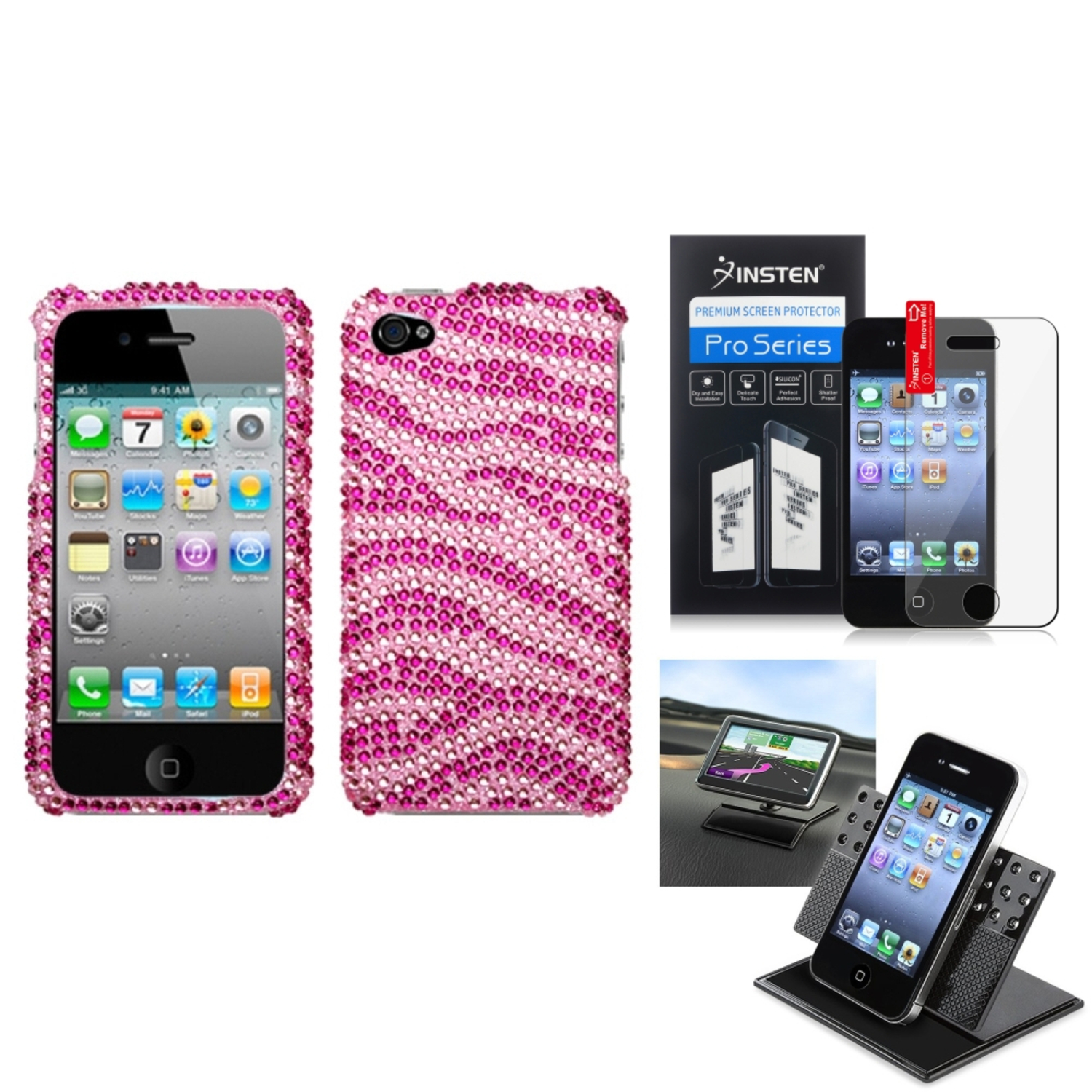 Insten Film Holder Zebra Skin (Pink/Hot Pink) Diamante Case Cover For APPLE iPhone 4S/4