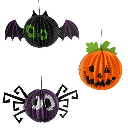 3 Pcs Halloween Paper Lanterns Three-dimensional Halloween Spooky Pumpkin Bat Spider Decoration