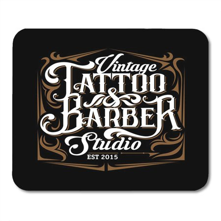 SIDONKU Machine Tattoo Studio and Barber Templates on Black Cool Retro Styled Emblem Lettering Sign Skull Mousepad Mouse Pad Mouse Mat 9x10