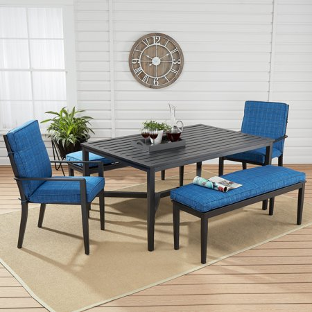 Mainstays Rockview 5-Piece Patio Dining Set with Blue Cushions