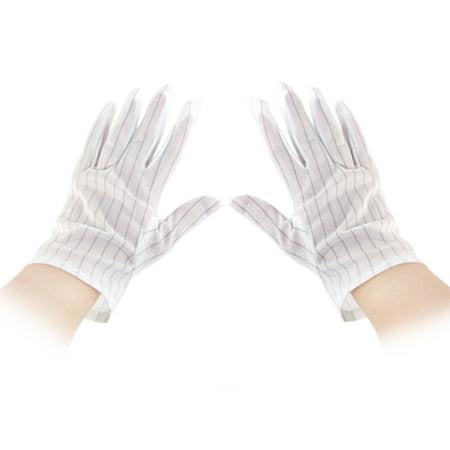 Unique Bargains 10 Pcs Computer Working Stripe Print Anti-static Gloves Size M
