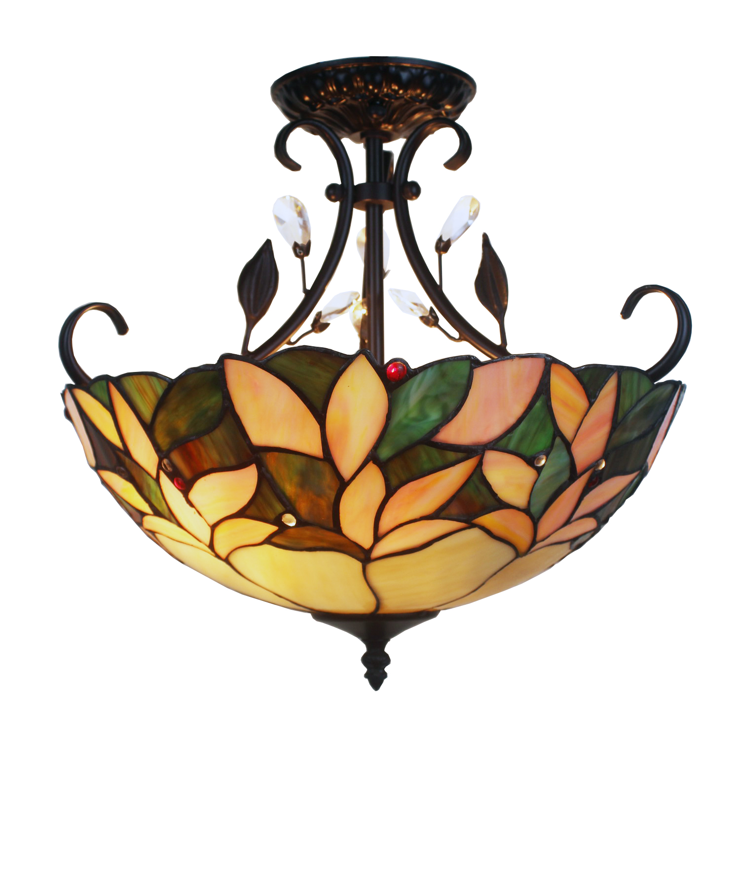 """Aika 2-Light Leafy 16"""" Tiffany Style with Crystals Ceiling Lamp by Supplier Generic"""