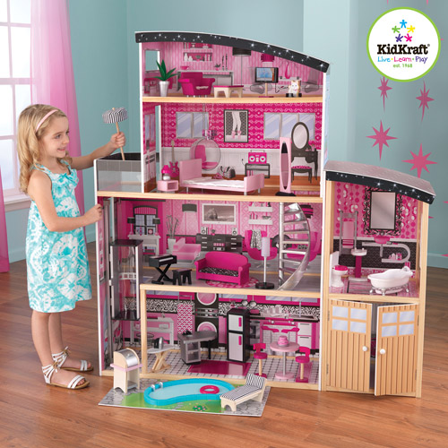 KidKraft Sparkle Mansion Dollhouse Deluxe Pretend Play House | 65826