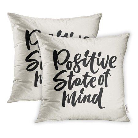 ARHOME Positive State Mind Motivational Quote Modern Brush Pen Lettering Pillowcase Cushion Cases 20x20 inch Set of 2