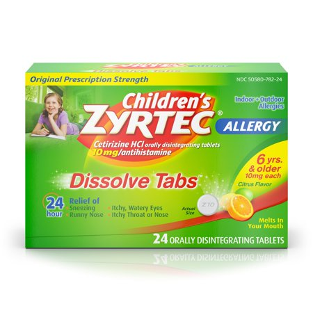 Children's Zyrtec 24 Hr Allergy Dissolve Tablets, Citrus Flavor, 24