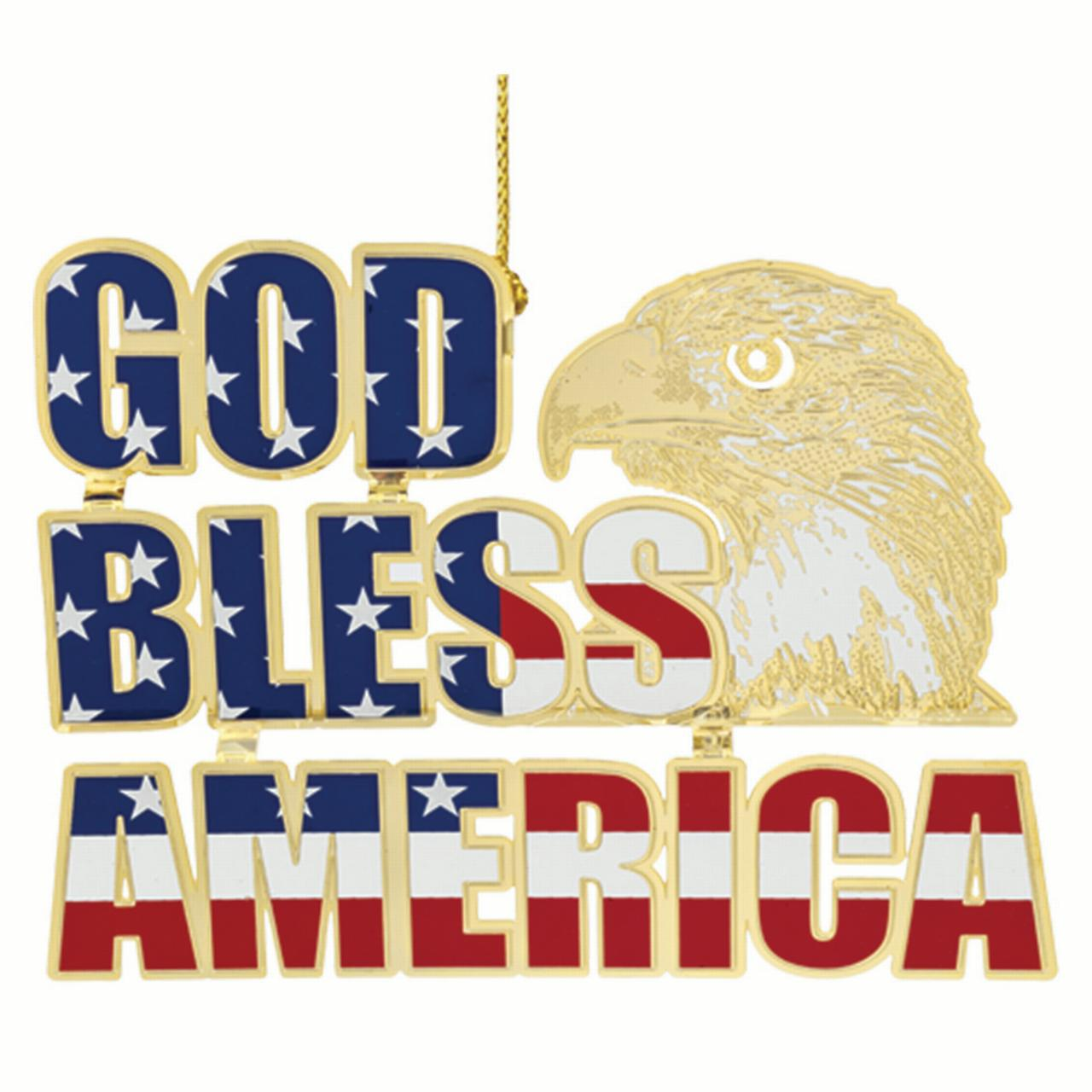"2.75"" Red, White and Blue 24K Gold Finish ""God Bless America"" Patriotic Christmas Ornament"