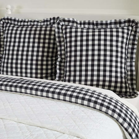 Antique White Black Farmhouse Bedding Jenna Buffalo Check Cotton Buffalo Check Euro Sham ()
