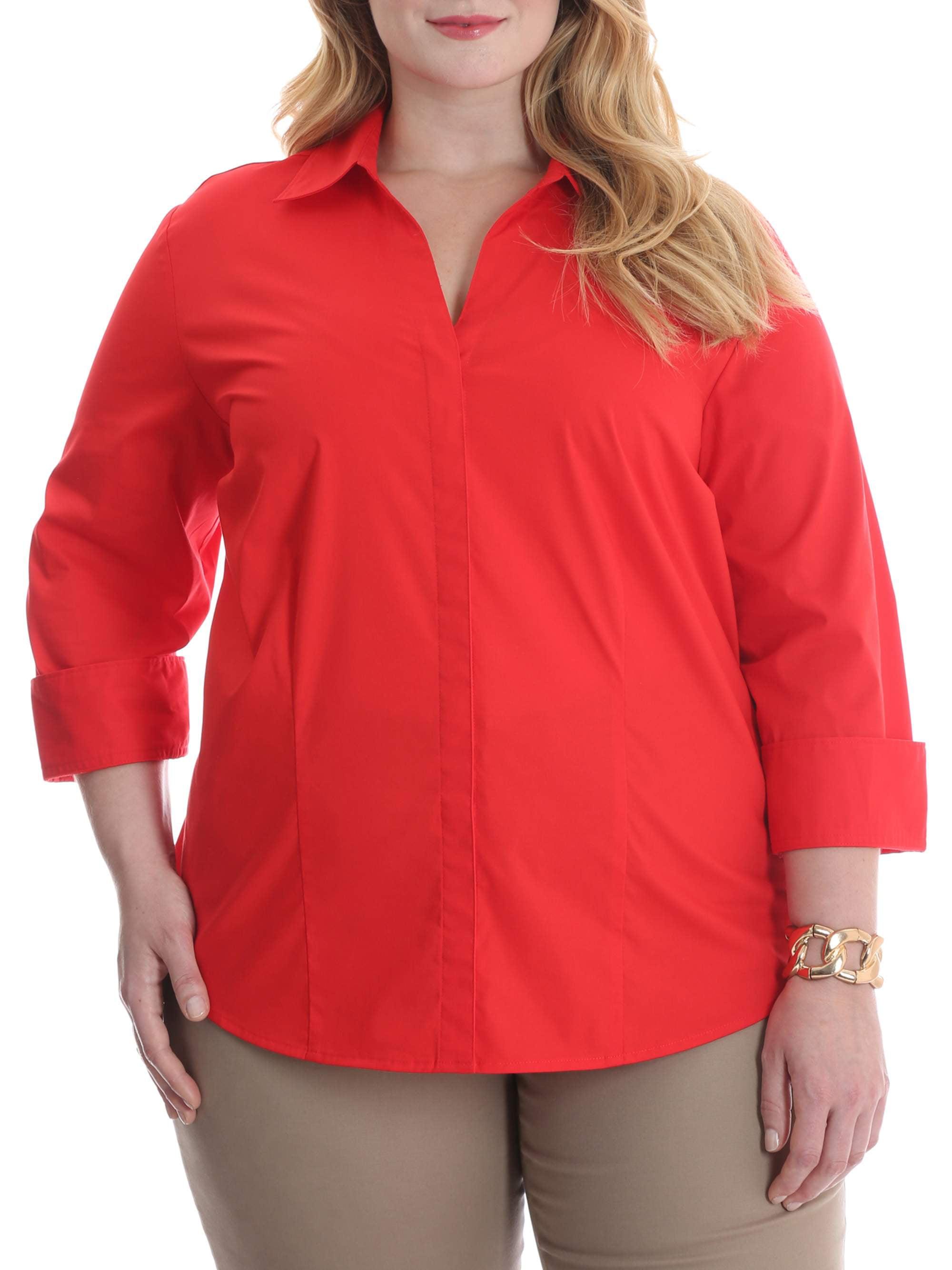 Women's Plus 3/4 Sleeve Classic Career Shirt