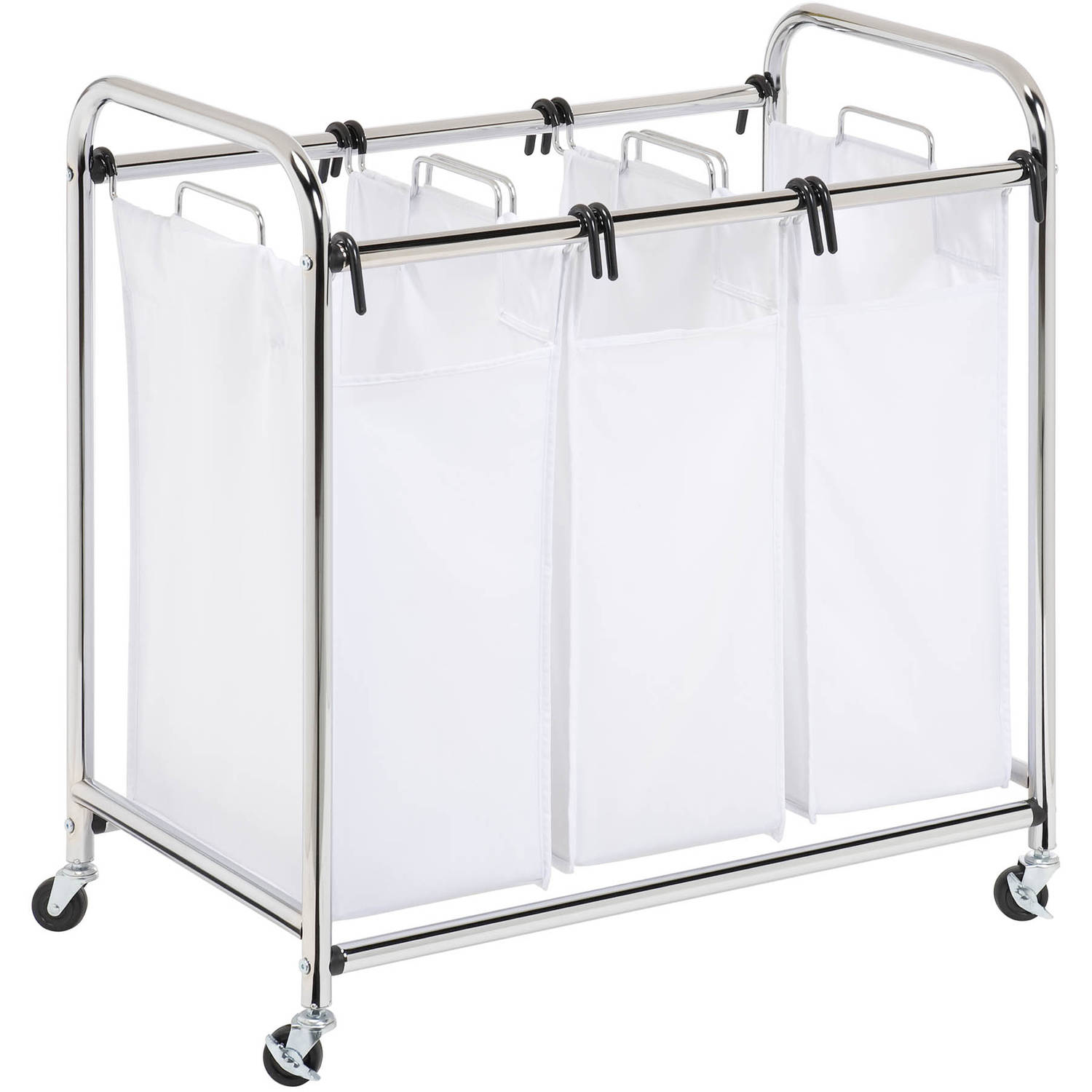 Honey Can Do Commercial Grade Triple Laundry Sorter Chrome White