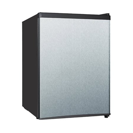 Midea 2.4 cu ft Compact Refrigerator with Reversible Door & Recessed Handle, Stainless Steel
