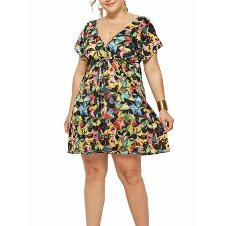V-neck A-line Dress (Women Summer V-Neck A-Line Print Dresses Plus-Size)