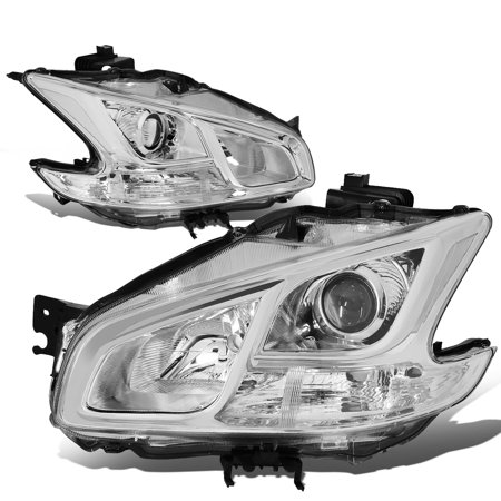 For 2009 to 2014 Nissan Maxima Pair Projector Headlight Chrome Housing Clear Side Headlamps 10 11 12 13 (Nissan Maxima Projector Headlights)