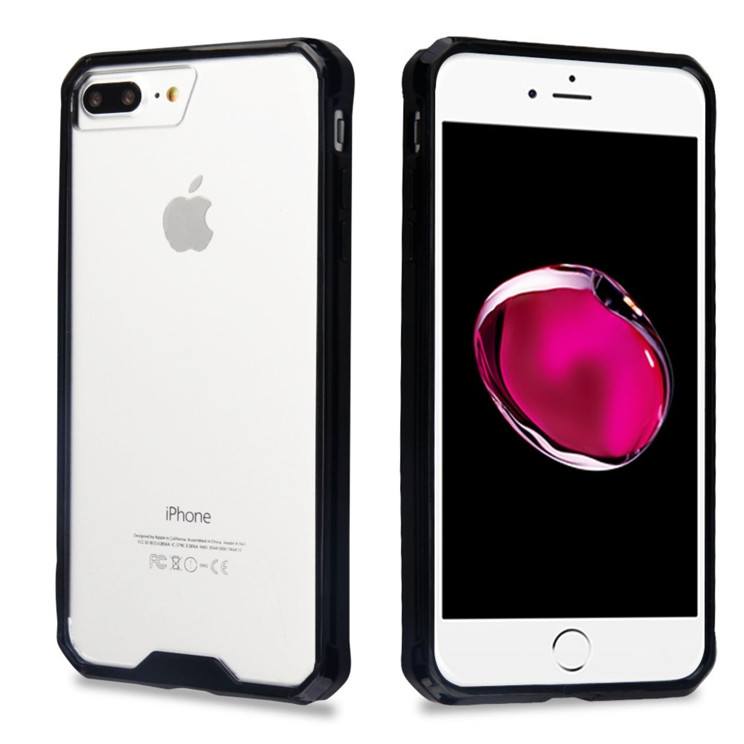 iPhone 8 Plus case, iPhone 7 Plus case, by Insten Highly Transparent Sturdy Gummy Hard PC Case Cover For Apple iPhone 8 Plus / iPhone 7 Plus - Clear/Black