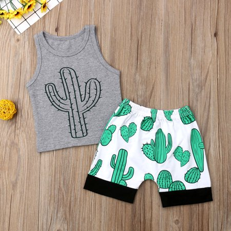 Baby Boys Summer Outfits Sleeveless Graphic Grey Vest + Green Cactus Print Shorts Clothes Set
