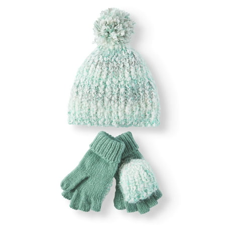 68b013664d9 TIME AND TRU - Women s Cozy Marled Beanie and Poptop Gloves 2-Piece Set -  Walmart.com