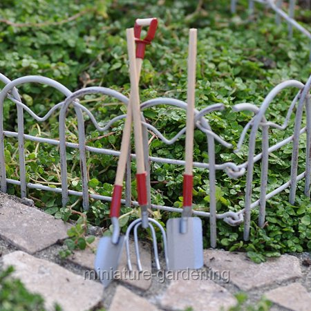 darice wood metal garden tool set for miniature garden fairy garden. Black Bedroom Furniture Sets. Home Design Ideas