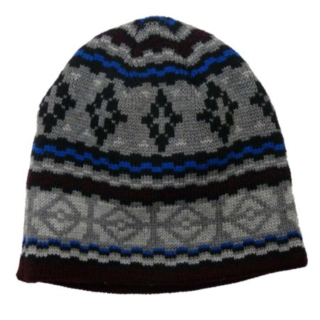 Free Authority Mens Hat Gray Blue Patterned Beanie Stocking Cap