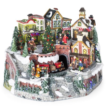 Best Choice Products 12in Pre-Lit Hand-Painted Animated Tabletop Christmas Village Set with Rotating Train, Fiber Optic Lights, (Animated Symphony Of Bells Musical Tabletop Decoration)