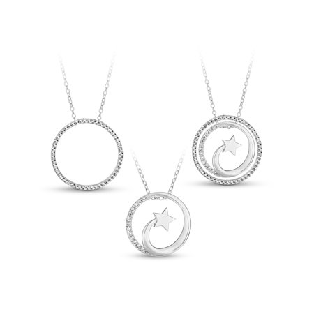 White CZ Sterling Silver Shooting Star Circle 3-in-1 Interchangeable Necklace, 18