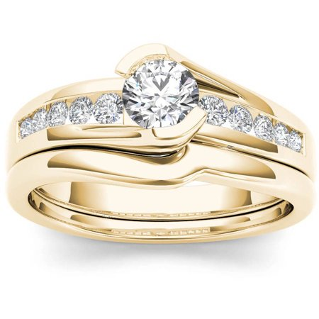 1/2 Carat T.W. Diamond Bypass 14kt Yellow Gold Engagement Ring Set Tension Set Yellow Ring