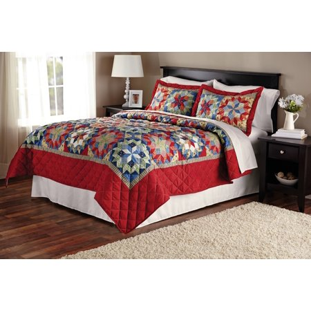 Mainstays Shooting Star Classic Patterned Red Quilt, Full/Queen