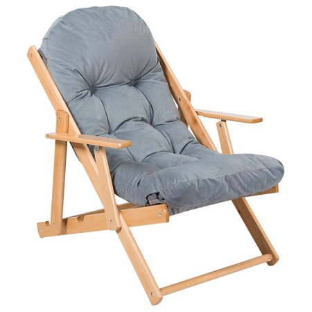 Gymax Folding Recliner Adjustable Lounge Chair Padded Armchair Patio Deck w/ Ottoman - image 5 of 10