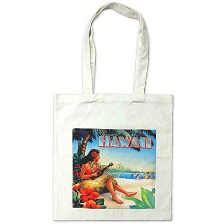 Hawaiian Hawaii Hula Girl Print Beach Bag Cotton Reusable Tote