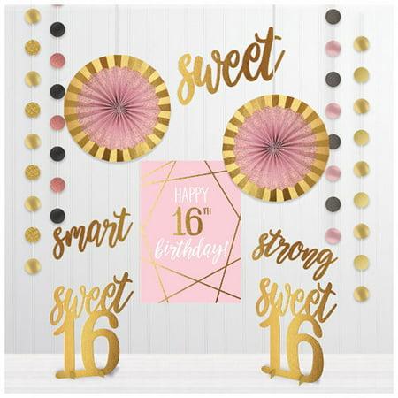 Aqua Sweet 16 Decorations (Sweet 16 'Blush' Room Decorating Kit)