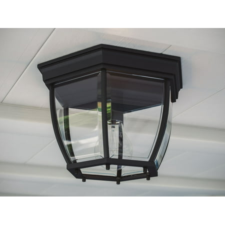 Kenroy Home Classic 1 Light Flush Mount, For Use Indoors and Outdoors, 7 Inch Height, 11 Inch Diameter, Black Finish, Crystal Clear Glass Shade, Easy Installation