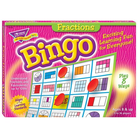 Fractions Bingo Game, Perfect for middle-schoolers and adults. By Trend Enterprises Inc - Bingo Bags For Sale