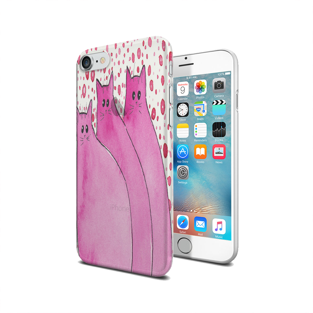 KuzmarK iPhone 7 Clear Cover Case - Cherry Pink Chunky Kitties Abstract Cat Art by Denise Every
