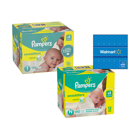 Diaper Trial Pack - [Save $20] Size N & Size 1 Pampers Swaddlers Diapers, One Month Supply Packs (Total 338 Diapers) + Free $20 Gift Card