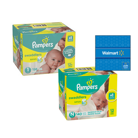 [Save $20] Size N & Size 1 Pampers Swaddlers Diapers, One Month Supply Packs (Total 338 Diapers) + Free $20 Gift Card