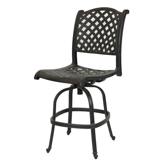 Comfort Care CC03B Cast Aluminum Armless Weave Outdoor Barstool - 50.6 x 22.8 x 27 in. - Set of 2
