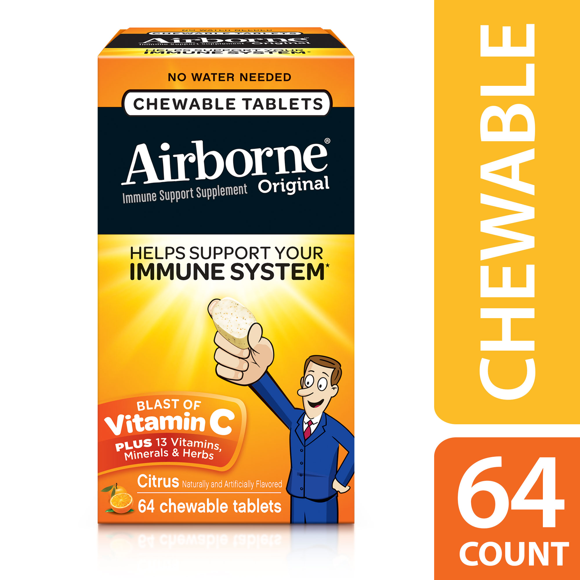Airborne Citrus Chewable Tablets, 64 count - 1000mg of Vitamin C - Immune Support Supplement