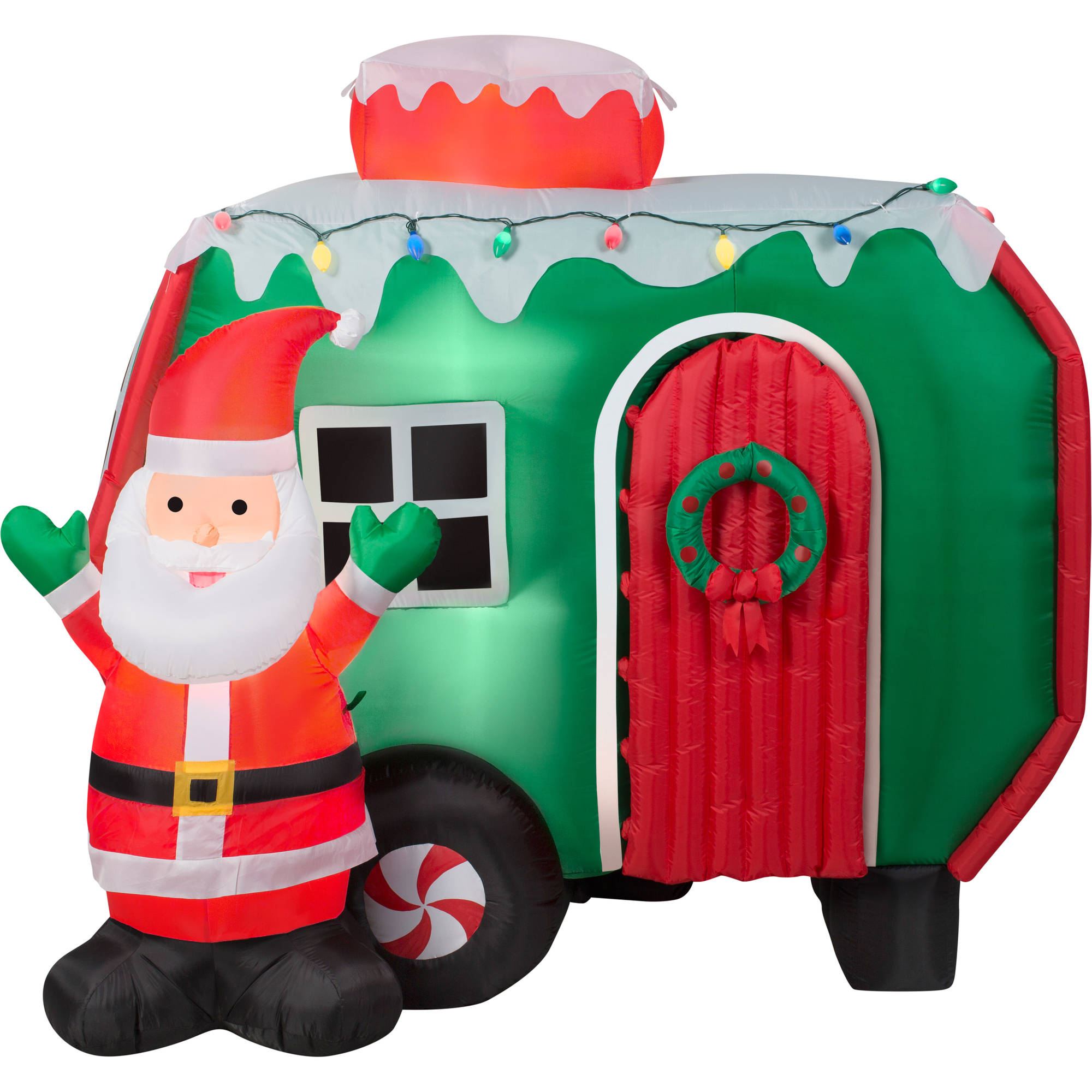 6 animated airblown inflatable santa and pop out penguin rv scene christmas inflatable walmartcom - Christmas Camper Decoration