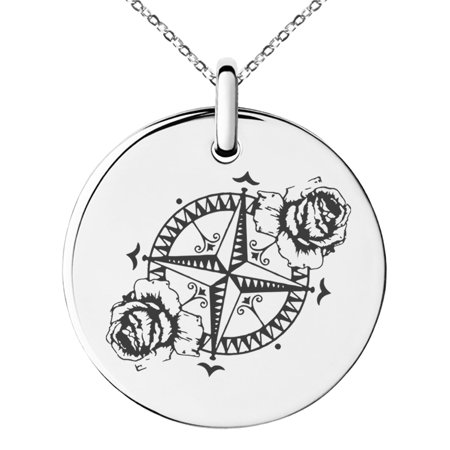 Stainless Steel Nautical Floral Rose Compass Engraved Small Medallion Circle Charm Pendant Necklace