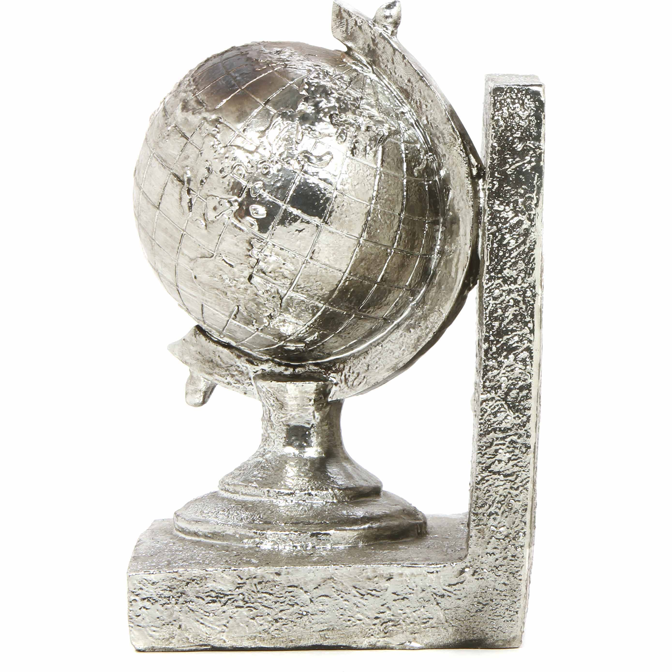 "Mainstays 7.2""H Silver Globe Bookend"