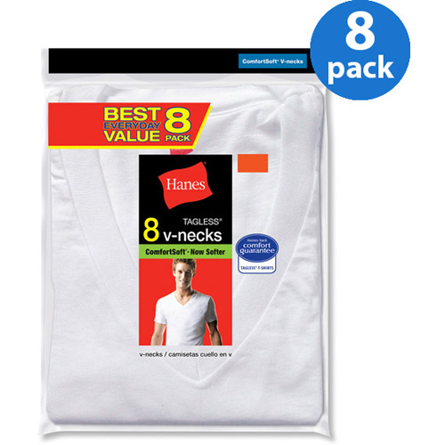 Hanes Men's Value 8 Pack V-Neck T-Shirts