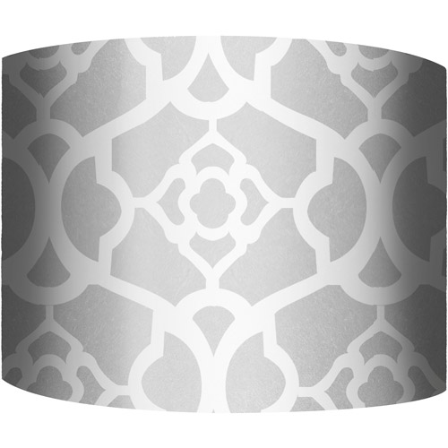 "12"" Drum Lampshade, White and Silver II by"