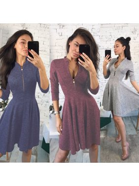 e934381d6b Women Bandage Bodycon Long Sleeve Evening Party Cocktail Zipper Short Dress