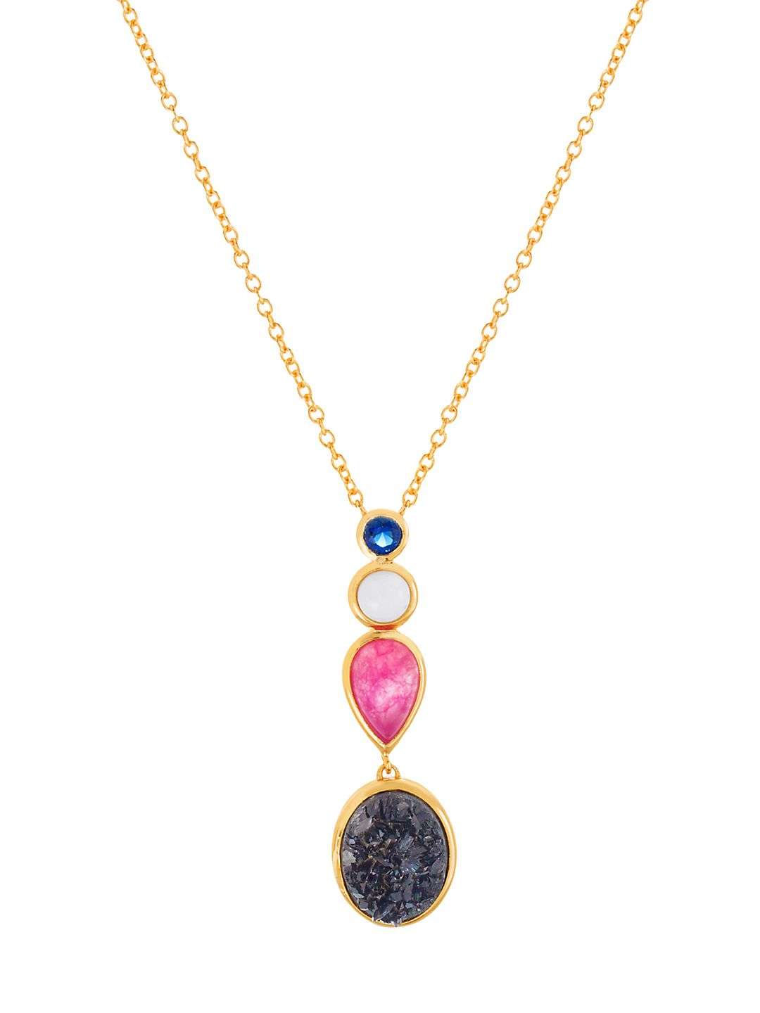 Goldplated and Druzy Stone Linear Pendant Necklace