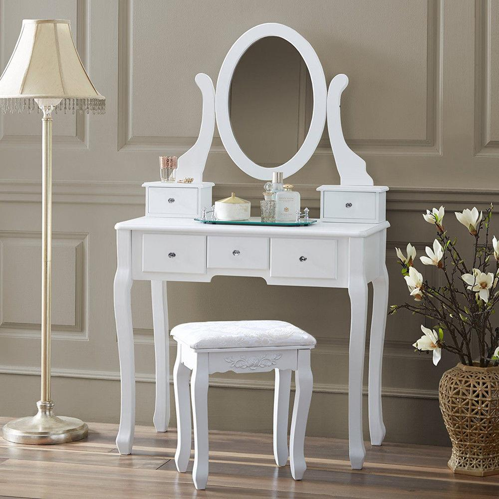 Vanity Wood Desk Makeup Dressing Table Set w//Stool 2 Drawers /& Mirror Blue