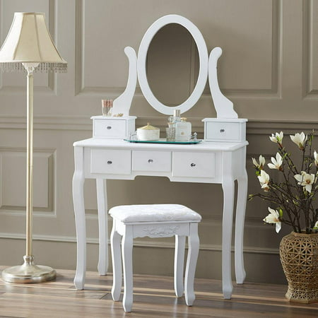 Ktaxon Vanity Makeup Dressing Table Set W Stool 5 Drawers Mirror Jewelry Desk White