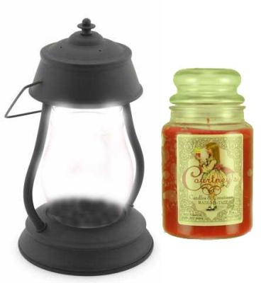 Hurricane Black Candle Warmer Gift Set - Warmer and Courtneys 26 oz Jar Candle - PEPPERCORN