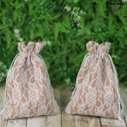 BalsaCircle 10 pcs Natural Brown Burlap Floral Lace Favor Bags with Pull String - Wedding Party Favors Jewelry Pouch Candy Gift Bags