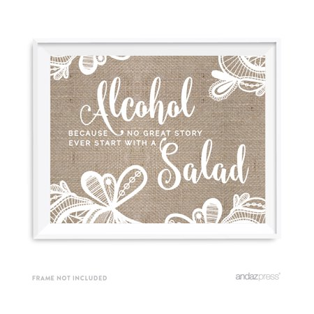 Alcohol, No Story Started With A Salad Burlap Lace Wedding Party Signs - Burlap And Lace Wedding Decorations