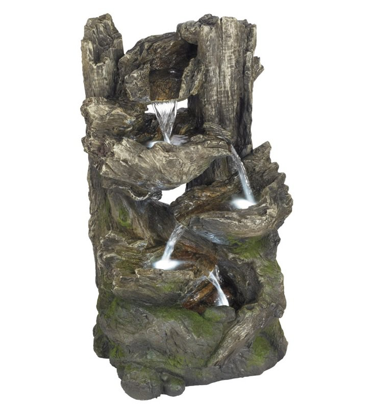 "Bond Y96598A Forest Log Fountain With Waterfall Tiers, 13.8"" x 12.2"" x 25"">"