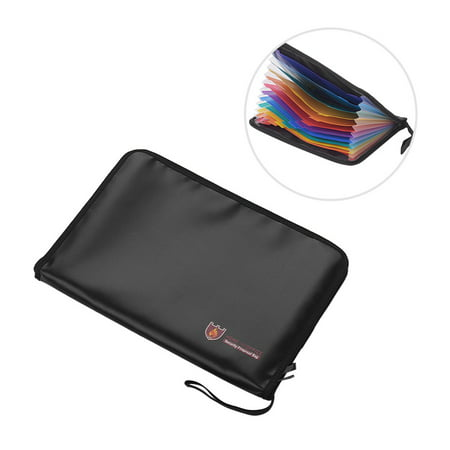 Fireproof Waterproof Safe Document Bags A4 Size Expandable File Folder Double Zippers 12 Pockets Accordian File Organizer for Cash Passport Photos Jewelry Legal Document Files Office Supplies ()
